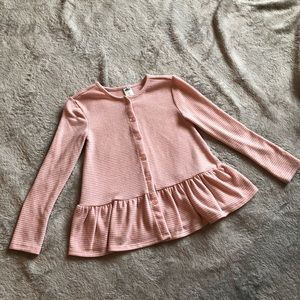 Pink sweater with gold pin stripes